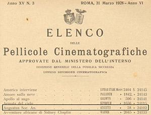 Il visto di censura del film