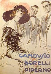 Compagnia Gandusio-Borelli-Piperno, manifesto disegno di Aldo Mazza