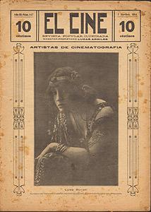 Lyda Borelli sulla copertina della rivista El Cine, 7 novembre 1914