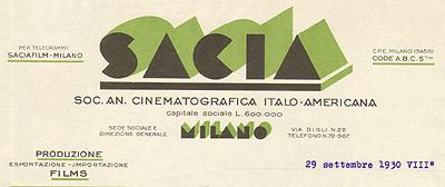 Lettera della SACIA 1930