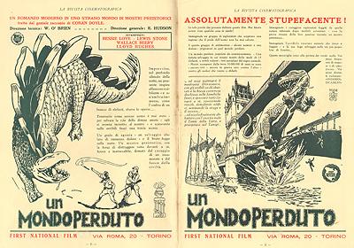 Pubblicità del film Un mondo perduto 1925