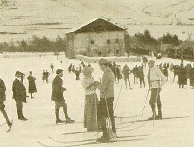 La pista delle gare di sci a Bardonecchia 1910