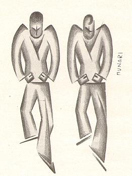 Due futuristi, disegno di Bruno Munari
