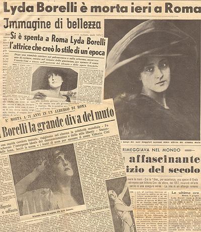 articoli sulla scomparsa di Lyda Borelli