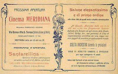 Brochure pubblicitaria per la prossima del Cinema Meridiana