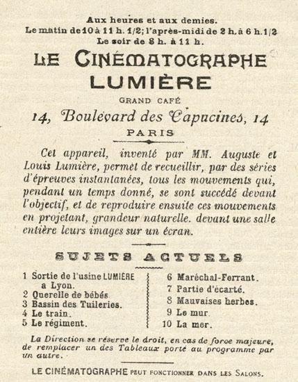 Le Cinématographe Lumière, une des premiers séances