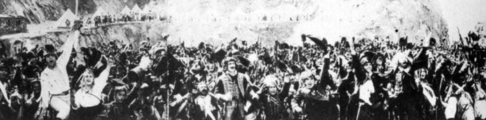 Una delle scena a triplo schermo nel film Napoleon (1927)