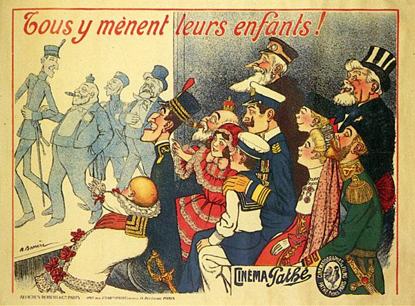 Nell'affisso: Il re Alfonso XIII di Spagna, Eduardo VII d'Inghilterra,  lo zar Nicolas II, il presidente Fallières, il kaiser Guglielmo II, disegno di Adrien Barrère 1908 c.