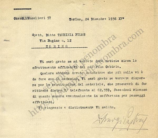 Lettera di Giovanni Pastrone alla Taurinia Films, 24 dicembre 1936