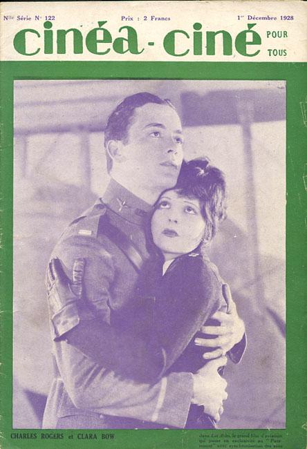 """Charles Rogers et Clara Bow dans """"Les Ailes"""", film avec synchronisation des sons"""