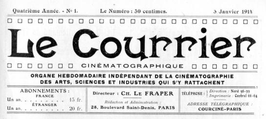 Le Courrier Cinématographique 3 janvier 1914
