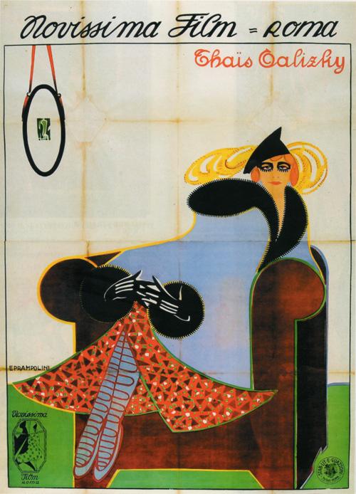 Thaïs Galizky, Novissima Film 1917, manifesto di Enrico Prampolini (archivio in penombra)
