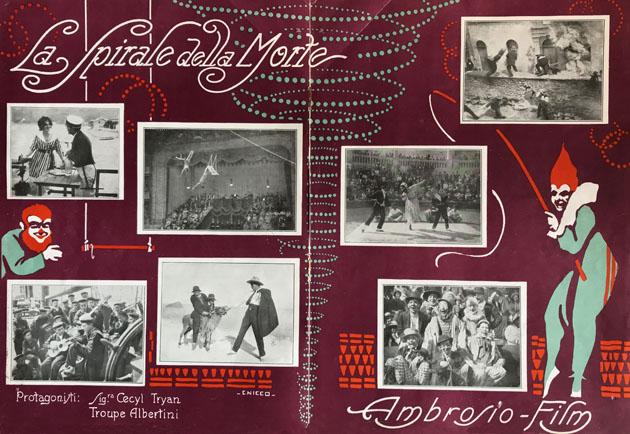La Spirale della Morte, Ambrosio Film 1917, disegni di Carlo Nicco.