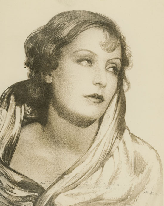 Greta Garbo, disegno di Harry Stoner per la rivista Cinema Art.