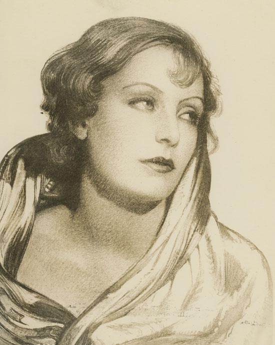 Greta Garbo, disegno di Harry Stoner per la rivista Cinema Art.