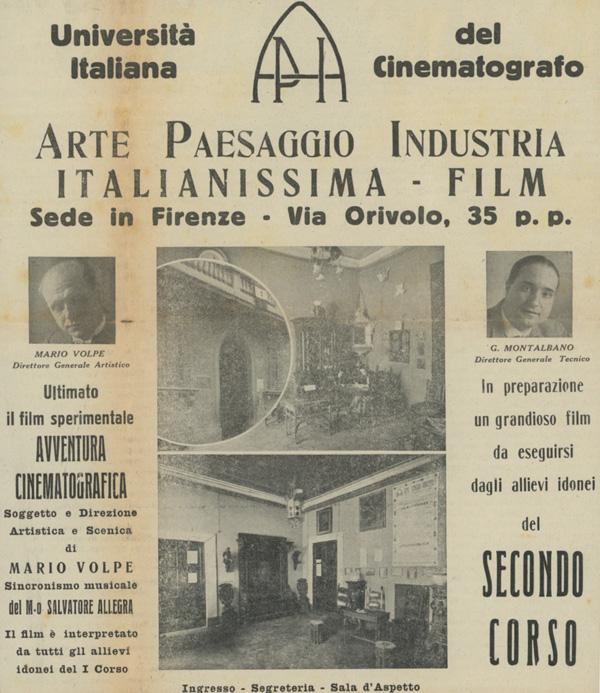 Università Italiana del Cinematografo, Firenze 1926. Direttore Generale Artistico Mario Volpe; Direttore Generale Tecnico G. Montalbano.