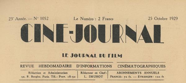 Ciné-Journal Paris 25 Octobre 1929