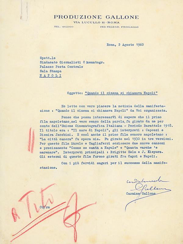 La lettera di Carmine Gallone al Sindacato Giornalisti Cinematografici (archivio in penombra)