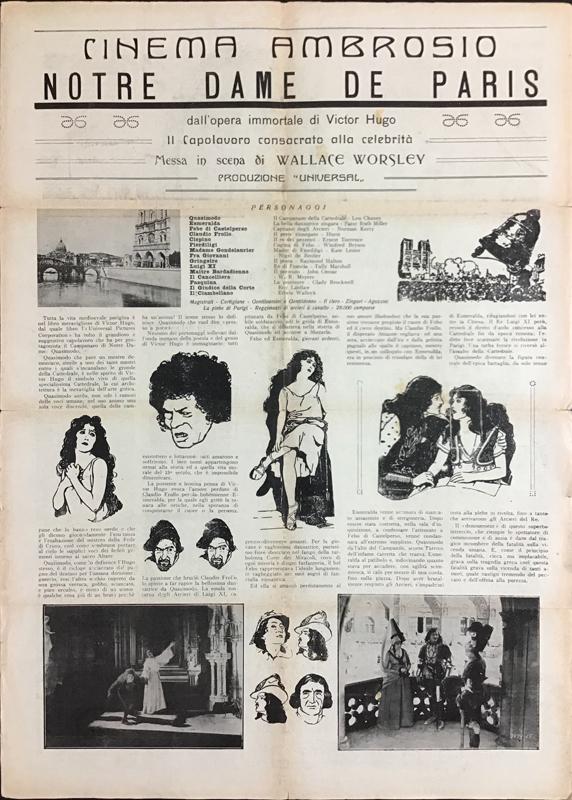 Notre Dame de Paris al Cinema Ambrosio di Torino 1924