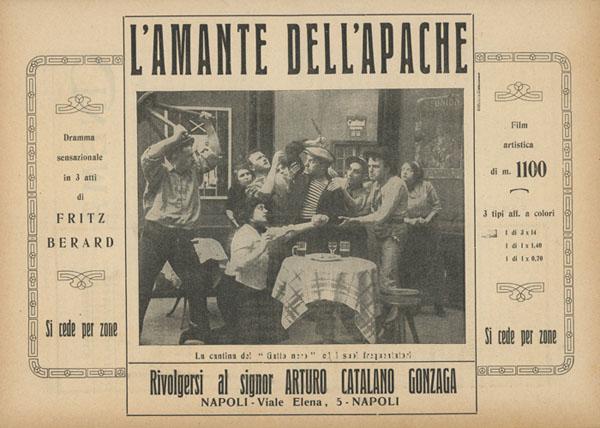 """""""L'amante dell'apache"""" dramma sensazionale in 3 atti di Fritz Berard (Cinema, Napoli, 25 giugno 1912)"""