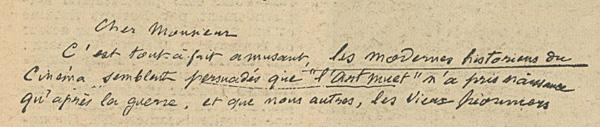 Lettre de Georges Méliès