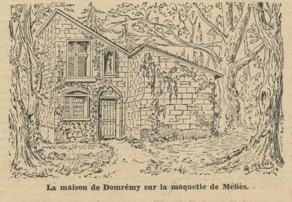 La maison de Domrémy sur la maquette de Méliès (L'Écran français, 13 Juillet 1948)