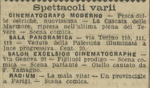 Spettacoli varii Il Messaggero, Roma 1 dicembre 1905