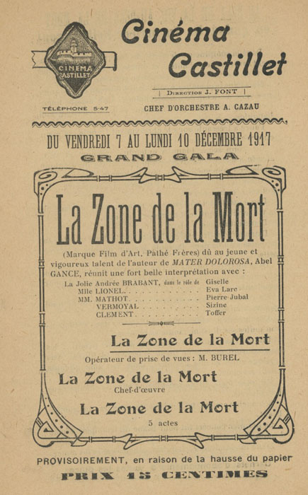 La Zone de la Mort Film d'Art 1917